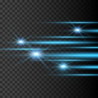 Luzes e listras se movem rapidamente em um fundo escuro. design de efeito de luz. desfoque de vetor em luz de esplendor. elemento de decoração. feixes de luz horizontais.