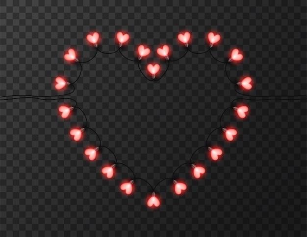 Luzes em forma de coração isoladas em transparente