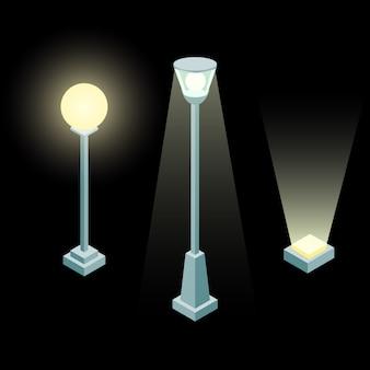 Luzes isoladas da cidade isométricas.
