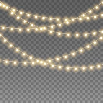 Luzes isoladas em fundo transparente. conjunto de ilustração de lâmpada de néon led dourado guirlanda brilhante natal