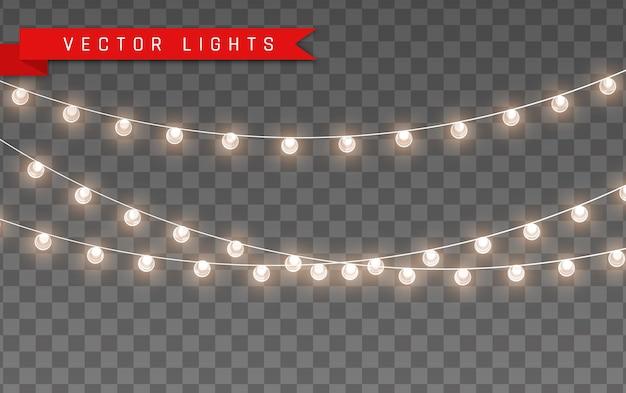 Luzes isoladas em fundo transparente para cartões, banners, cartazes, web design. conjunto de ilustração de lâmpada de néon led dourado guirlanda brilhante natal