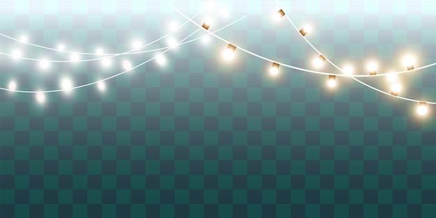Luzes isolaram elementos de design realista. guirlandas de decorações. lâmpada de néon led