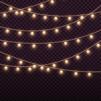 Luzes luminosas para as férias de natal guirlanda de lâmpadas brilhantes