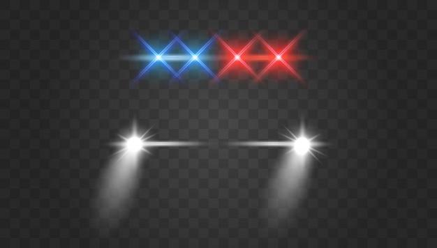 Luzes piscam e sirene efeito vista frontal. faróis do carro de polícia e luzes de sirene vermelhas piscando.