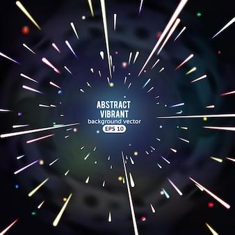 Luzes radiais futuristas, gráficos vibrantes abstratos com movimento no espaço.