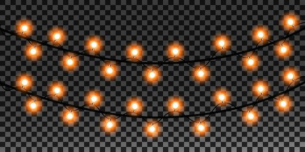 Luzes realistas de natal em fundo transparente