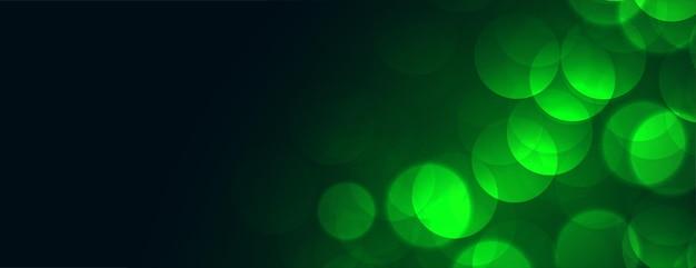 Luzes verdes de bokeh com espaço de texto