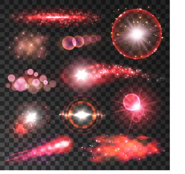 Luzes vermelhas de glitter e brilhos em fundo transparente