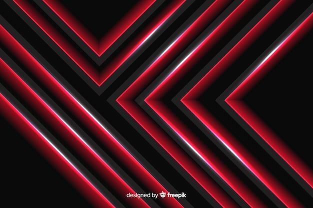 Luzes vermelhas geométricas organizadas com linhas