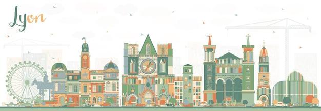 Lyon frança city skyline com edifícios de cor. ilustração vetorial. viagem de negócios e conceito com arquitetura histórica. paisagem urbana de lyon com pontos turísticos.