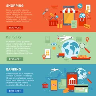M-commerce banners horizontais definidos com símbolos de compras e entrega