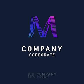 M design de logotipo da empresa com vetor de cartão de visita
