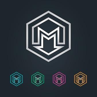 M hexagonal e logotipo