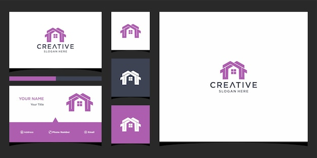 M home logo design com modelo de cartão de visita