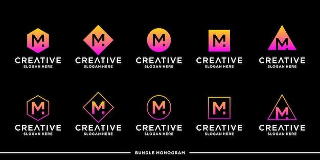 M logo set template premium
