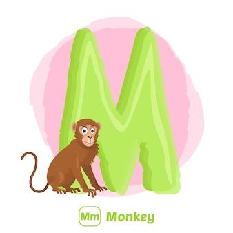 M para macaco. estilo de desenho de ilustração premium de animal do alfabeto para educação