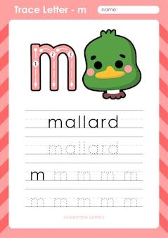 M pato selvagem: planilha de letras de rastreamento az do alfabeto - exercícios para crianças