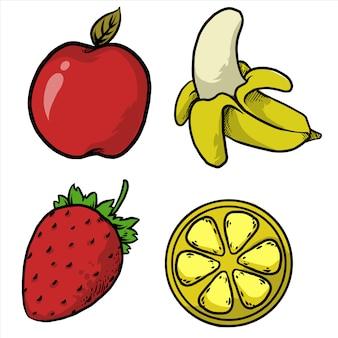 Maçã, banana, morango, e, laranja, frutas, pacote, desenho, ilustração