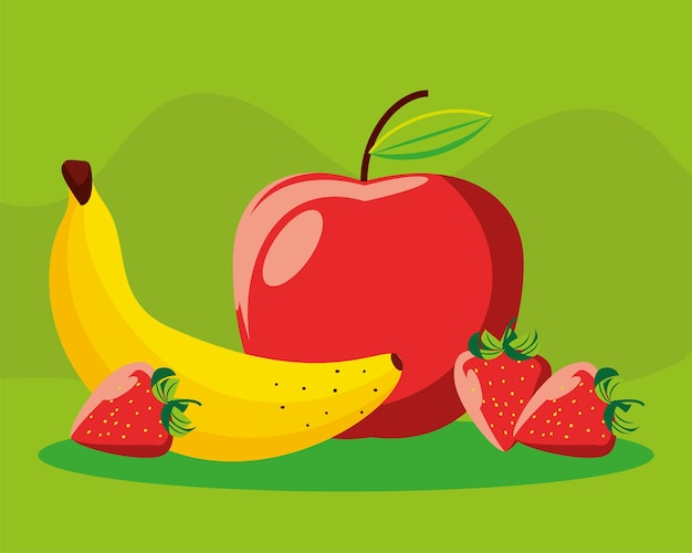 Maçã banana morango