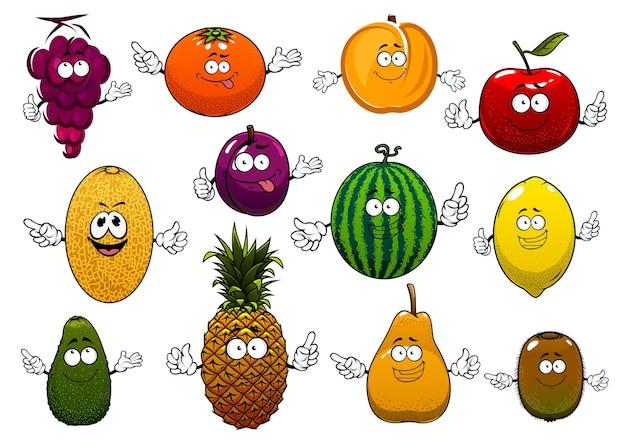 Maçã de verão feliz dos desenhos animados, laranja, uvas, abacaxi, pêssego, limão, kiwi, melancia, abacate, ameixa, frutas de melão.