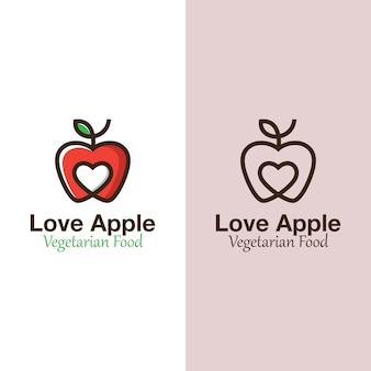 Maçã do amor moderna, logotipo de frutas favoritas