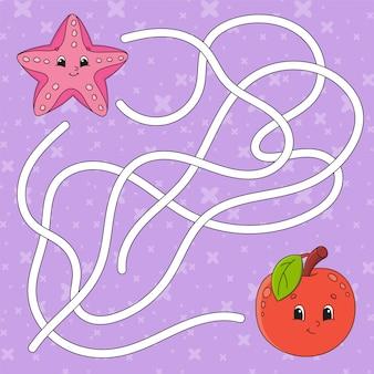 Maçã fruta, estrela do mar. labirinto. jogo para crianças. enigma do labirinto.