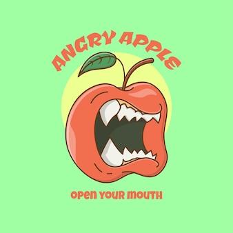 Maçã furiosa e assustadora com dentes afiados