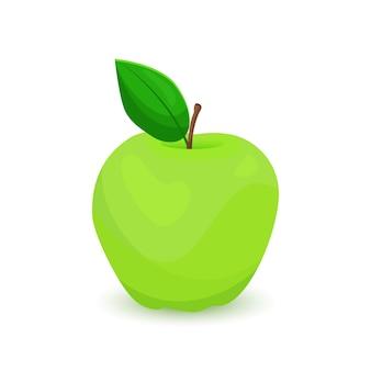 Maçã verde com folha isolada no fundo branco. ilustração vetorial.
