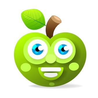 Maçã verde com olhos grandes sorrindo ilustração vetorial