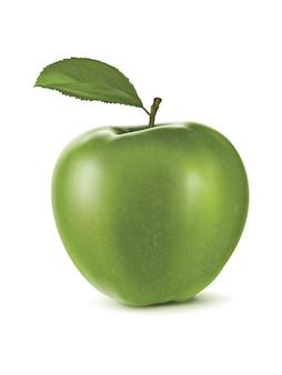 Maçã verde em branco.
