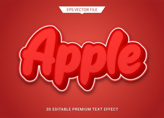 Maçã vermelha 3d texto editável estilo efeito vetor premium
