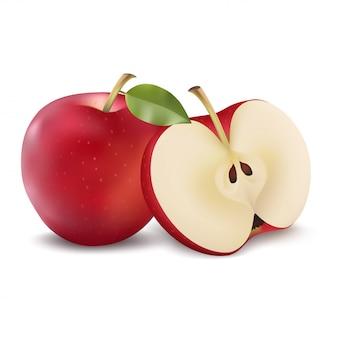 Maçã vermelha com fatia verde da folha e da maçã. ilustração realista de vetor. frutas isoladas frescas