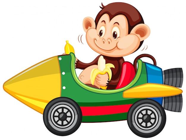 Macaco andando no carrinho de foguete de brinquedo comendo banana
