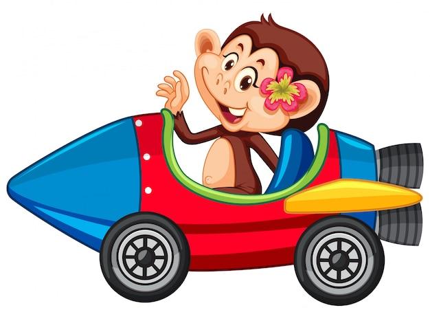 Macaco andando no carrinho de foguete de brinquedo