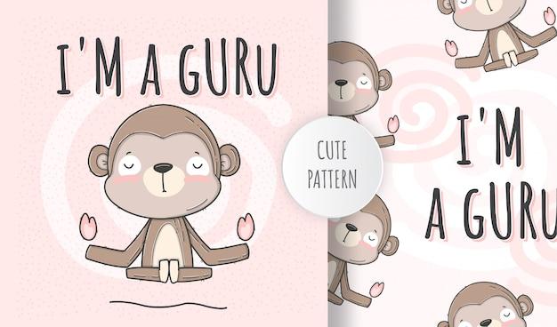 Macaco animal bonito sem costura padrão plana