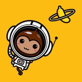Macaco astronauta fofo com planeta banana