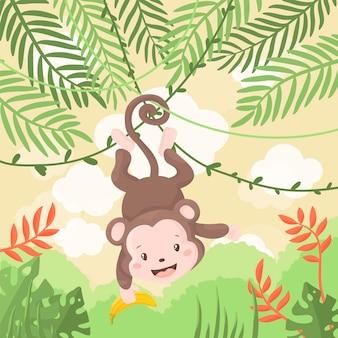 Macaco bebê fofo pendurado em uma árvore, ilustração de desenho animado