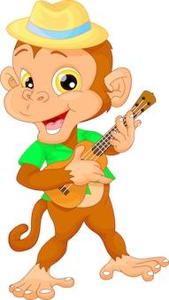 Macaco bonito com guitarra