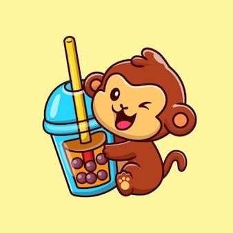 Macaco bonito com ilustração do ícone do vetor dos desenhos animados do chá do leite boba. conceito de ícone de bebida animal isolado vetor premium. estilo flat cartoon