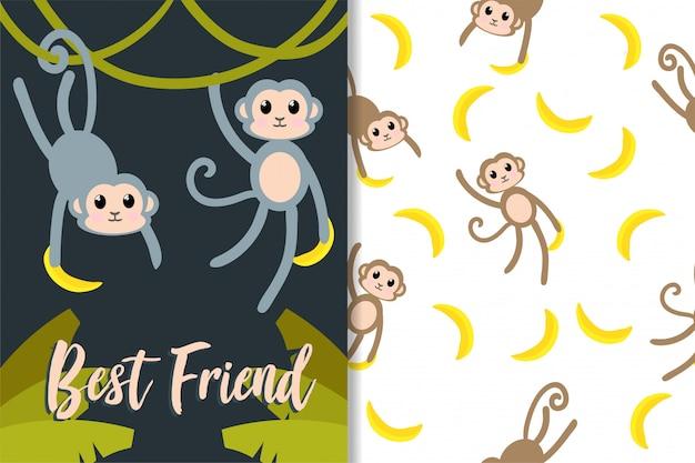 Macaco bonito conjunto de padrão de mão desenhada de animais