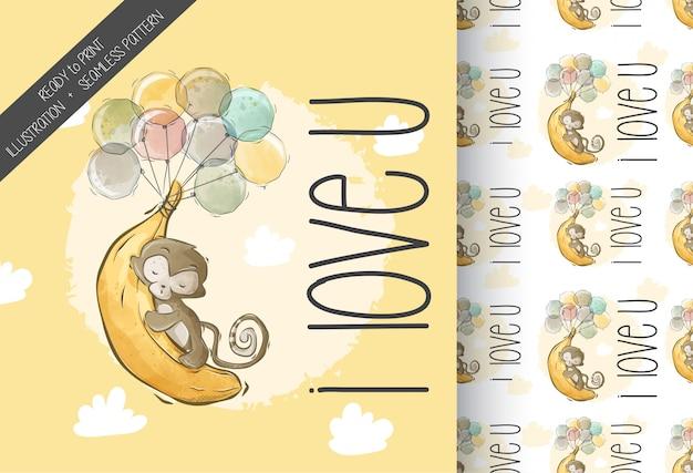 Macaco bonito dos desenhos animados amor banana sem costura padrão