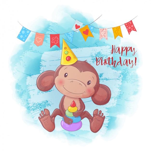 Macaco bonito dos desenhos animados com uma pirâmide. cartão de aniversário.