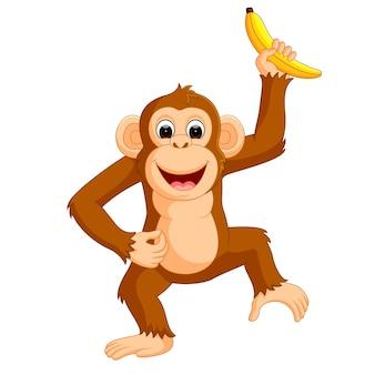 Macaco bonito dos desenhos animados comendo banana