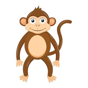 Macaco bonito dos desenhos animados na cor marrom elemento para ilustração vetorial