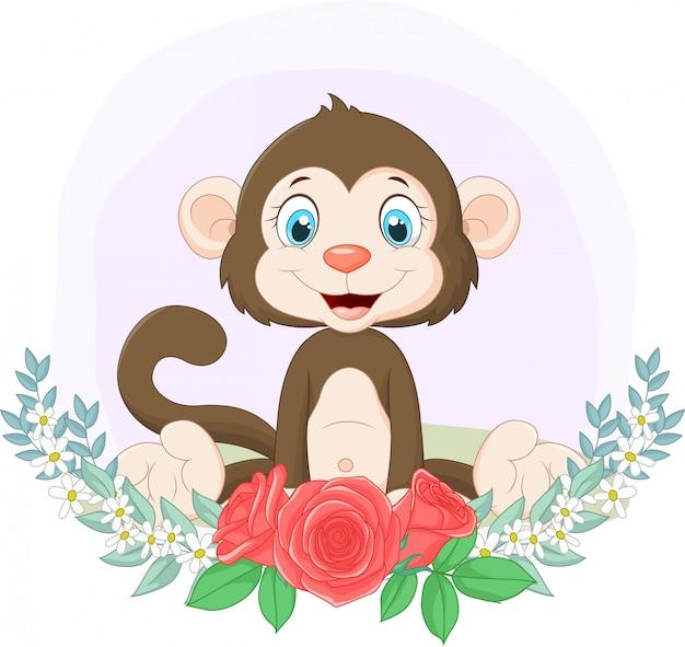 Macaco bonito dos desenhos animados, sentado com fundo de flores