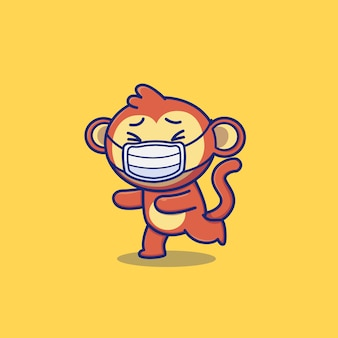 Macaco bonito vestindo máscara cartoon vector icon ilustração. conceito do ícone do animal e da saúde isolado vetor superior. estilo cartoon plana