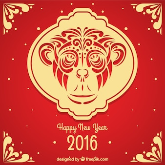 Macaco chinês ornamental novo fundo do ano
