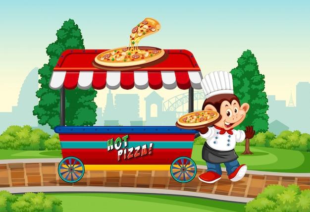 Macaco com ilustração de pizza pizzaria