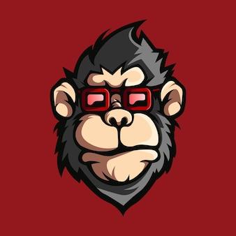 Macaco com logotipo de design de óculos