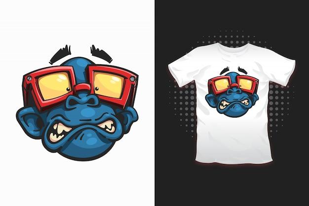 Macaco com óculos de impressão para design de t-shirt